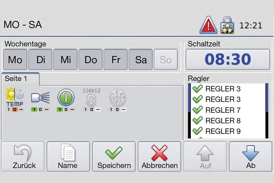 Störk-Tronic Commander, Screenshot, Wochentage, Einstellungen.