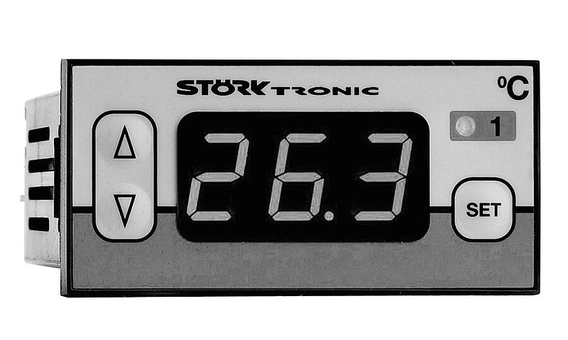 [Translate to Französisch:] Störk-Tronic, Historie, 1990, Kompaktregler, gewerbliche Kälte, Kühleinheit.
