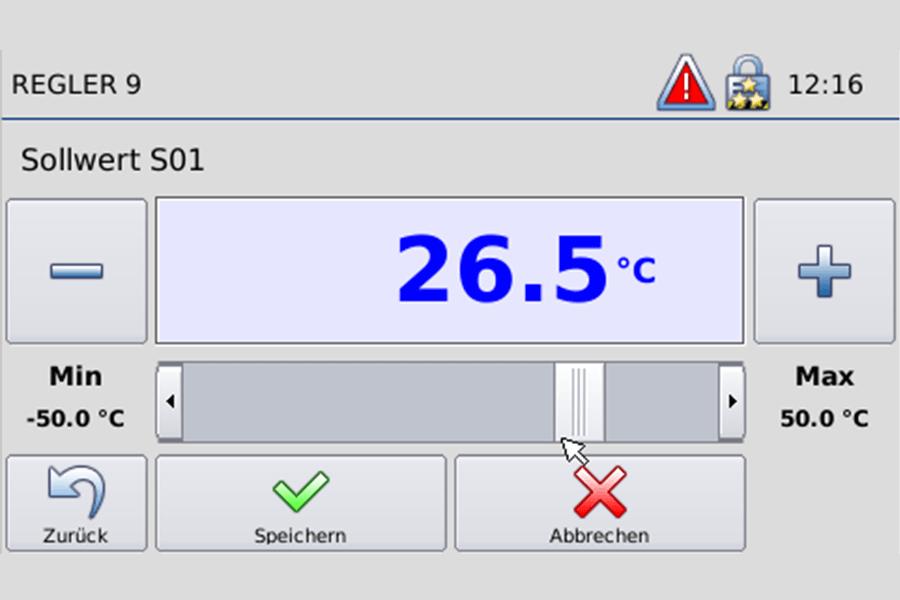 [Translate to Niederländisch:] Störk-Tronic Commander, Screenshot, Regler 9, Sollwert, Einstellung.