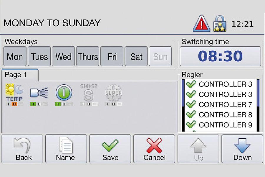 Störk-Tronic Commander, screenshot, weekdays, settings.